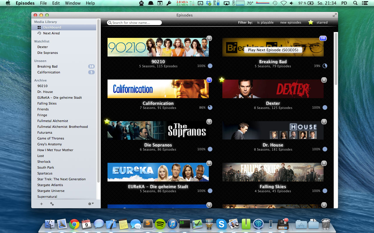 It shows you an overview over all your favourite shows. It also allows you to play the next episode with one click and for which shows you have fresh episodes.